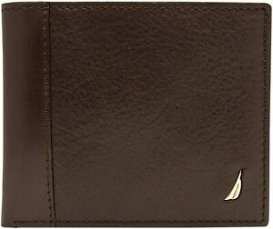 Nautica Men's Leather Passcase Wallet with Large Bill Compartment and ID Window