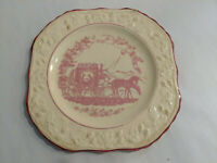 """Vintage English Brambleberry 7 1/2"""" Plate Pink Cupid Courting Couple Horses"""