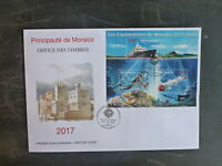 2017 MONACO EXPLORATIONS 3 STAMP MINI SHEET FDC FIRST DAY COVER