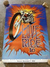 1993 LOVE RIDE 10 GLENDALE HARLEY DAVIDSON POSTER AUTOGRAPHED BY STANLEY MOUSE