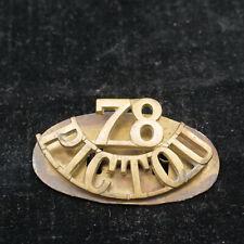 Vintage 78th Pictou Canadian Highlanders regiment shoulder title brass Ww1