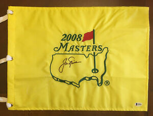 JACK NICKLAUS AUTO PGA GOLF STAR SIGNED 2008 MASTERS FLAG AUTOGRAPH