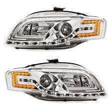 Tuning-Scheinwerfer Set für Audi A4 8E B7 Bj. 04-08 LED Tagfahrlicht Optik chrom