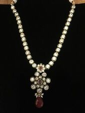 CLEARANCEIndian Pakistani Bollywood Ruby Green White Crystal Adjustable Necklace