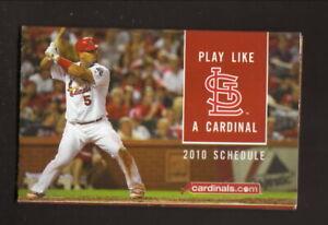 St Louis Cardinals--Albert Pujols--2010 Pocket Schedule--US Cellular