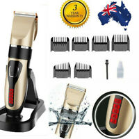 Waterproof USB Cordless Hair Clippers Mens Clipper Trimmer Shaver 10Pcs Full Set