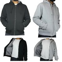 Mens Hoodie Thick Faux Fur Lined Zip Up Hooded Black Grey Sweater Jacket
