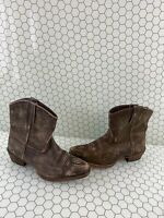 Roper Brown Leather Snip Toe Pull On Ankle Western Boots Women's Size 7