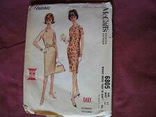 Vintage McCalls Pattern 6805 Miss Dress 1963 Sz 18 Bust 38 Slim w/ Raglan Sleeve