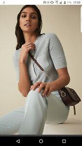 Reiss Coleen Pointelle Knitted Polo Top T-shirt Net A Porter Designer L