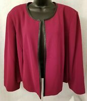 Kasper NWT Womens Beet Black Cover Shirt Top Blouse Blazer Jacket Coat Size 20W