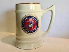 "United States"" US MARINE CORPS""  Large Gold Rim Ceramic Beer Stein/Mug by Atco"