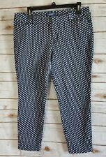 Old Navy Pixie Mid-Rise Women's Cropped Capri Pants Blue/White Size: 14
