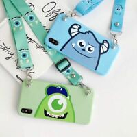 For iPhone 11 Pro Max XS X 7 8+ Cute Disney cartoon Mike sulley Strap phone Case