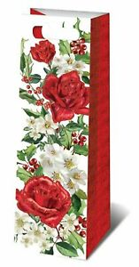 Punch Studio Party Gift Wine Bag  Christmas Holiday Holly Rose 11007