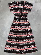 Vintage 1940s Dress Floral Pattern Side 40s Zip Folk Petite Small XS