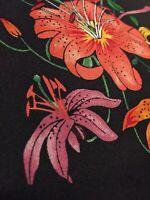 "Pure Silk Panel Remnant Flora 100% Silk Fabric Quilt 17""x5"" Stunning!!"