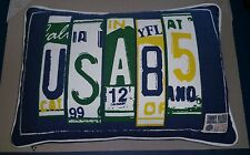 Tommy Hilfiger Original License Plate USA 12x18 Throw Pillow Zipper Navy Blue