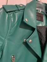 BLANK NYC Faux Leather Moto Jacket, Sz XS, Coastal Green