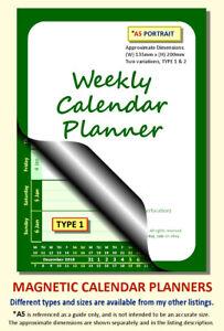 GREEN A5 MAGNETIC CALENDAR PLANNER, BESPOKE, CHOOSE START MONTH, YEAR & TYPE
