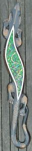 Gecko Wall Hanging Wooden Ornament with colourful Glass mosaic inlay 100cm long