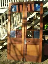 Pair cedar french doors 10 lite glass  panels &  2 timber base panels