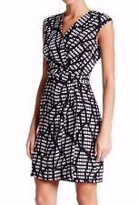 $120 NWT Anne Klein Printed Drape Dress Sleeveless Black White Combo Sz 6