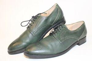 J.D. Fisk Mens 10 Green Leather Medallion Oxfords Lace Up Dress Shoes