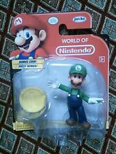 NEW World of Nintendo Super Mario Brothers Figure Luigi BONUS Coin Cake Topper