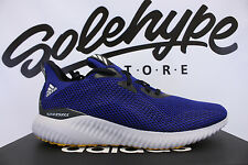 ADIDAS ALPHABOUNCE EM MYSTERY INK CORE BLACK YELLOW RUNNING SHOE BW1219 SZ 12