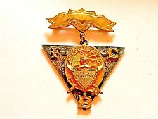 """Vintage 1874 Knights of Pythias """"S.S. Davis S.C. Lodge"""" Silver Two Part Pin"""