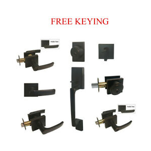 Oil Rubbed Bronze Door Lever Locks Square Plate Keyed privacy Passage Deadbolt