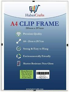 Clip Frame A4 Size Frameless Picture Frame Photo Poster Certificate Non Glass