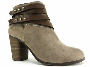 Material Girl Women's Mini Booties Taupe Micro Size 8.5 M