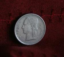 1951 Belgium 1 Franc Copper Nickel World Coin KM143.1 BELGIE Crown Cornucopia