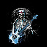 Blue Skull Guitar Solo Rock Music Cool Gothic T-Shirt Tee