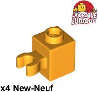 Lego 4x brick brick modified 2x2 clip vertical o crochet red//red 30237b new
