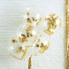 Gold Star Shaped CONFETTI BALLOONS Metallic 5 Pack Birthday Christmas Party New