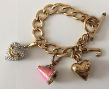 Juicy Couture Gold Charm Bracelet With Charms Crystal Heart Cheer Pink