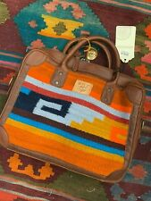 Will Leather Goods Aztec Oaxacan Briefcase Green Aztec Pattern NWT