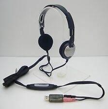 ANDREA QuietWare 100 Binaural QW-100 Stereo USB Headset w/ boomless microphone