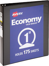 "Economy View 3 Ring Binder Round Ring Holds 8.5"" x 11"" Paper 1 Black Binder 1"""