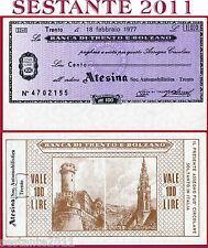 BANCA TRENTO E BOLZANO LIRE 100 18.2. 1977 ATESINA SOC. AUTOMOBILISTICA FDS B94