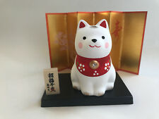 "1x Japanese 3""(H) Sitting Shiba Dog ,White ornament  #830-696"