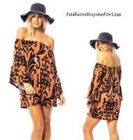 BOHO Fleur-De-Lis Off Shoulder Bell Sleeve Knit Sweater Dress Tunic Top S M L XL