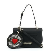 LOVE MOSCHINO Black Leather Shoulder Bag With Removable Pouch New 100% Authentic