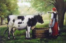 Dream-art Oil painting art woman milkmaid with cow under the tree in landscape