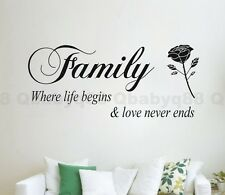 Family rose flower Wall quote decals Vinyl sticker decor home art room mural