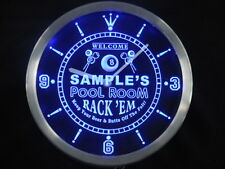 ncpy-tm Pool Room Personalized Your Name Bar Pub Game Neon Led Clock
