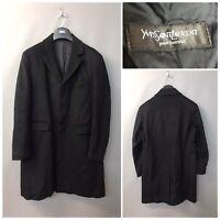Yves Saint Laurent Men's Black Coat Medium 80% Wool